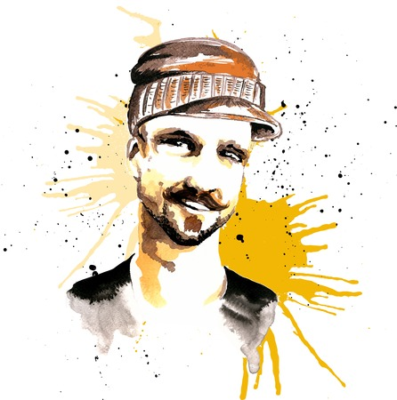 stubble: Smiling unshaved male hipster character in visor hat ink drawn poster vector illustration