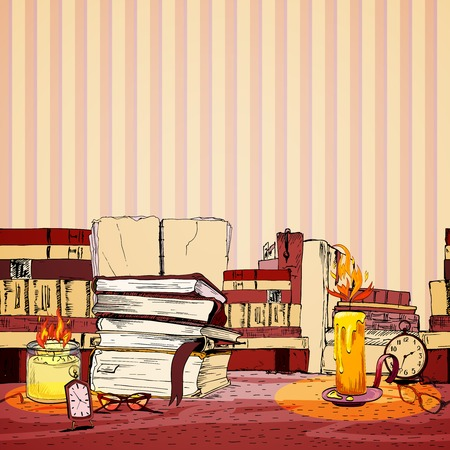 Vintage retro wax candle books and glasses doodle wallpaper vector illustration