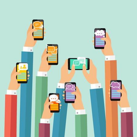 Instantánea móvil cartel mensajero de chat moderna con las manos y los smartphones ilustración vectorial Ilustración de vector