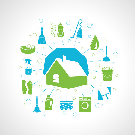 Cleaning washing concept with house and housework icons set vector illustration Ilustração