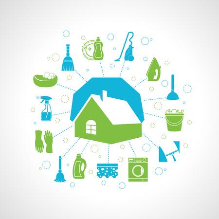 cesto basura: Concepto de limpieza lavado con la casa y las tareas domésticas iconos conjunto ilustración vectorial