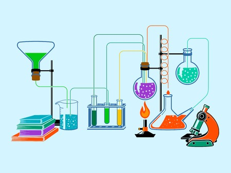 research education: Scientific chemistry physics research education laboratory equipment flat design elements background vector illustration