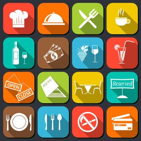 レストラン食品調理およびフラット アイコン シェール帽子クロッシュ カップ器具分離ベクトル イラスト セットを提供