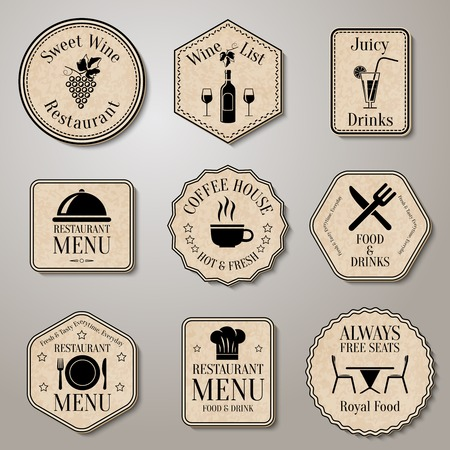 hot seat: Restaurant menu food and drinks  wine list labels set isolated vector illustration
