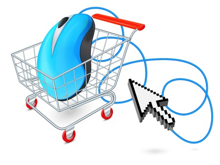 Supermarket cart 3d with computer mouse and click arrow internet shopping concept  vector illustration Vector