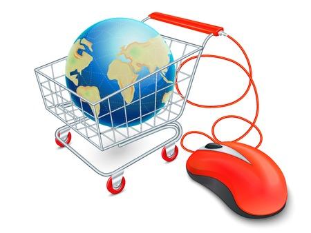 supermarket cart: Supermarket cart 3d with computer mouse and globe internet shopping concept vector illustration Illustration