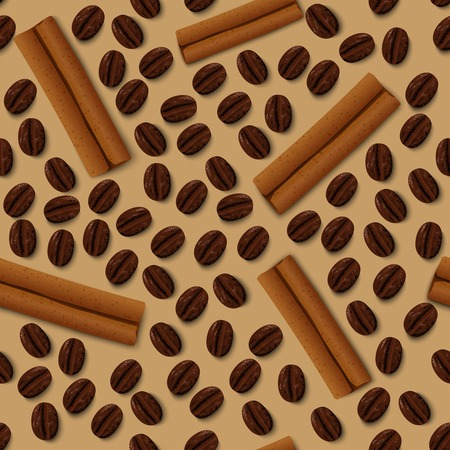 cinnamon sticks: Brown coffee beans dark roasted grain and cinnamon sticks seamless pattern vector illustration