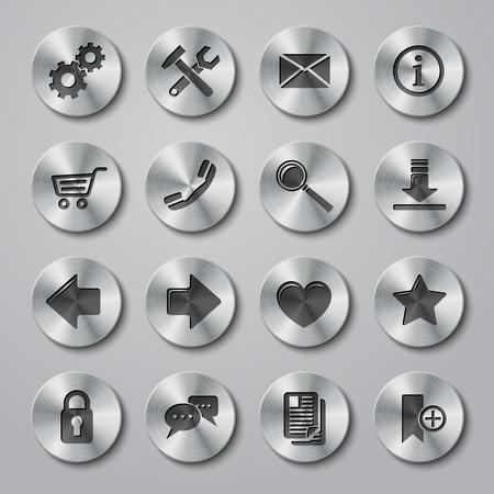 info button: Website internet browser user icons metal buttons style set isolated vector illustration