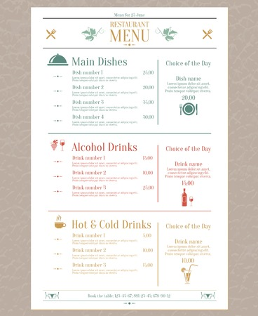 Elegant restaurant menu list with decorative elements vector illustration Ilustração