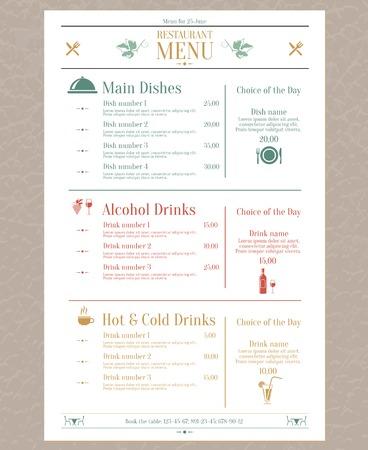 name plates: Elegant restaurant menu list with decorative elements vector illustration Illustration