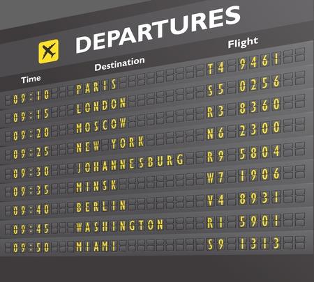 departure: Airport departure arrival destination mechanical analog old style counter board print vector illustration Illustration