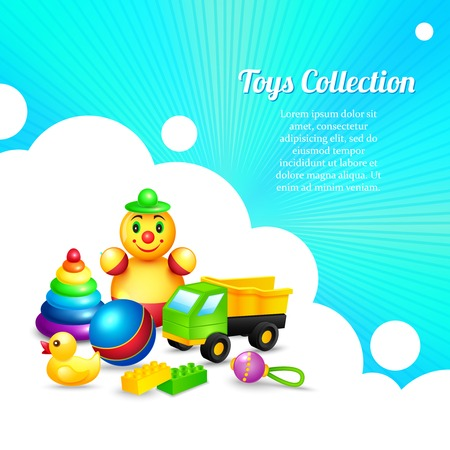 Decorative kids toys composition collection of ball pyramid truck rattle vector illustration Vector