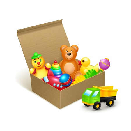 Decorative children toys collection in cardboard paper box vector illustration Vector