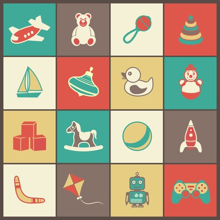 spinner: Flat kid children toys icons set of yacht spinner rubber duck clown isolated vector illustration