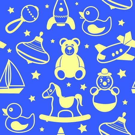 Children toys silhouette collection wallpaper with teddy bear rubber duck  rocking horse vector illustration