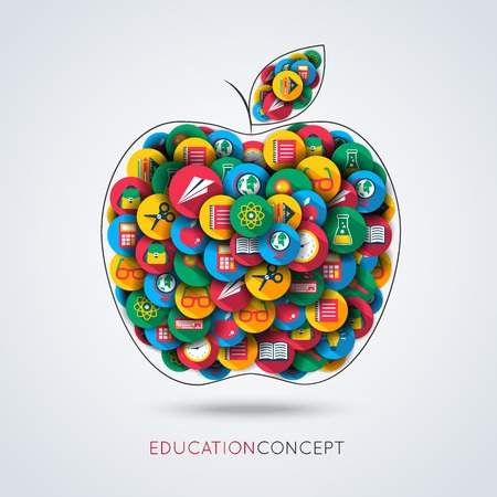 Knowledge icons set in a form of apple education concept composition vector illustration