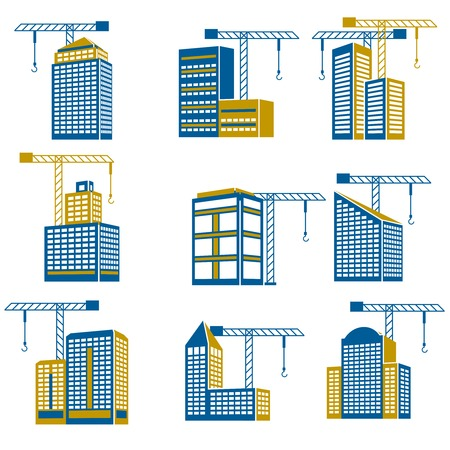commercial building: Business modern urban office buildings under construction icons isolated vector illustration