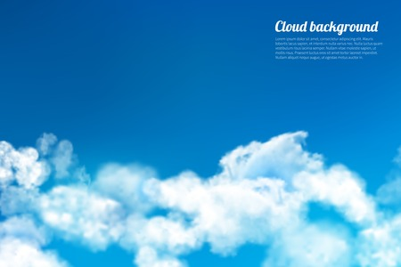 storm clouds: Blue sky with white summer clouds bright outdoor background vector illustration