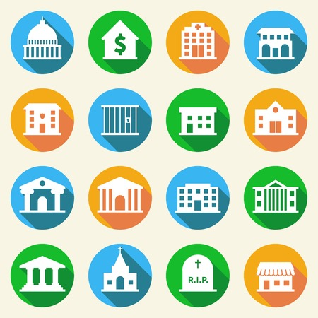 government: Government building flat icons set of police  museum library theater isolated vector illustration