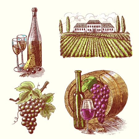 Wine vintage sketch decorative hand drawn icons set of barrel grape branch winery isolated vector illustration