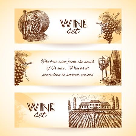 Wine vintage sketch decorative hand drawn banner set isolated vector illustration Illustration
