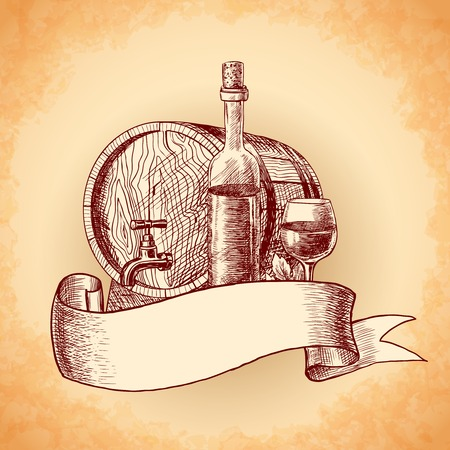 title hands: Wine vintage sketch decorative hand drawn background with barrel bottle and glass vector illustration.