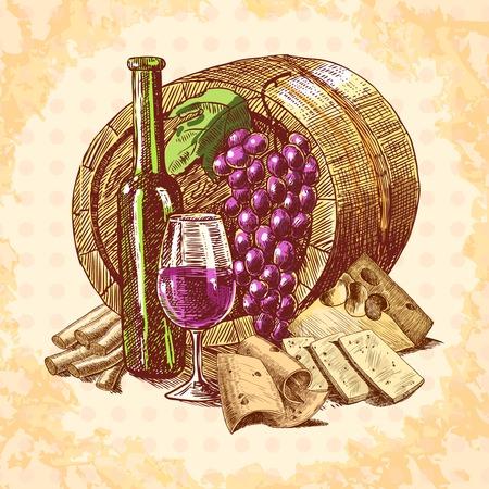 vintage etiket: Wijn vintage schets decoratieve hand getekende achtergrond met een vat, fles, glas, Vector, illustratie