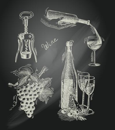 sommelier: Iconos decorativos pizarra vino de la vendimia conjunto de botella sacacorchos rama de uva ilustraci�n vectorial