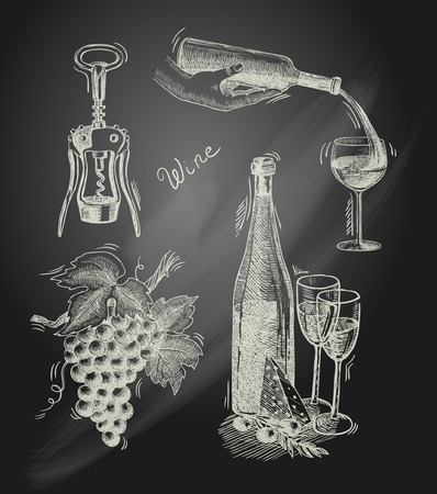 corkscrew: Wine vintage chalkboard decorative icons set of corkscrew bottle grape branch isolated vector illustration