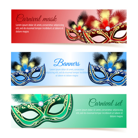 Colored venetian carnival mardi gras colorful party masks banners isolated vector illustration Illustration