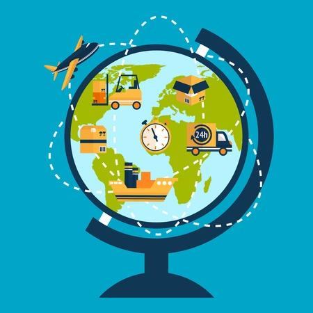 전세계에: 세계 및 배달 트랙과 아이콘 벡터 일러스트와 함께 물류 네트워크 개념