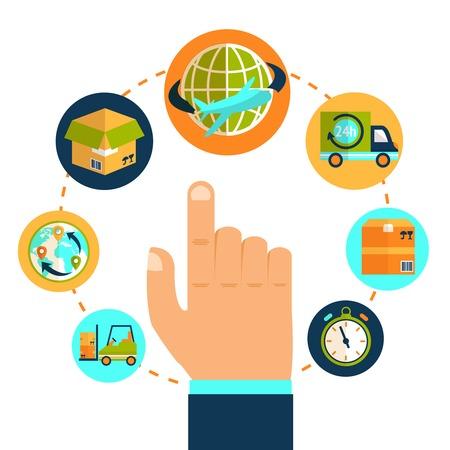 leveringen: Logistieke richten hand en delivery network ketenconcept vector illustratie Stock Illustratie