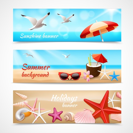 Summer holidays beach labels with seagull cocktail sea shell vector illustration Ilustracja