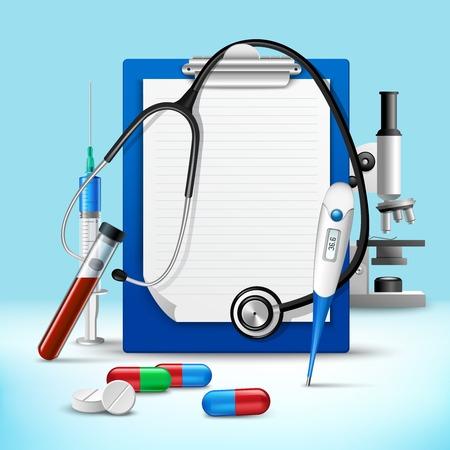 diagnostic: Realistic medical health service stethoscope and clipboard for notes emblem vector illustration Illustration