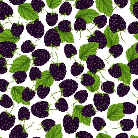 自然の新鮮な有機庭園のブラックベリーのシームレスなパターン ベクトル イラスト