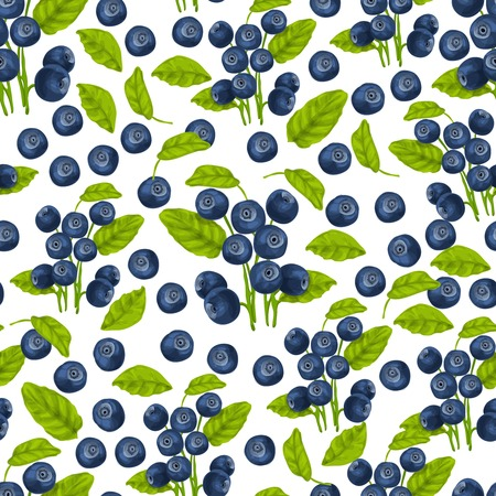 Natural fresh organic forest blueberry seamless pattern vector illustration