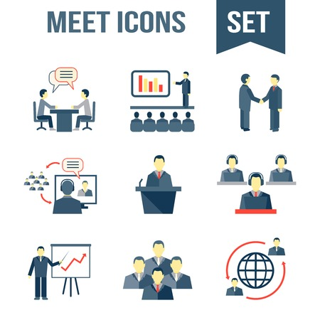 client meeting: Business people meeting partners online and offline conference and presentation icons set isolated vector illustration Illustration