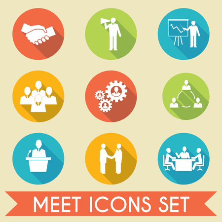 Business people meeting and collaborating strategic concepts pictograms icons set flat isolated vector illustration Çizim