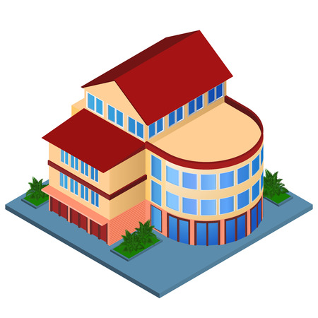 urban building: Modern 3d urban building with architectural elements isometric isolated vector illustration.