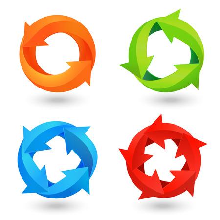 Basic color design circle arrows flowcharts process models set vector illustration