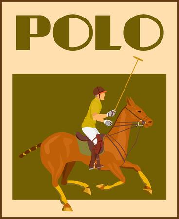 klubok: Sport polo club játékos sisak bunkó lóháton plakát vektoros illusztráció