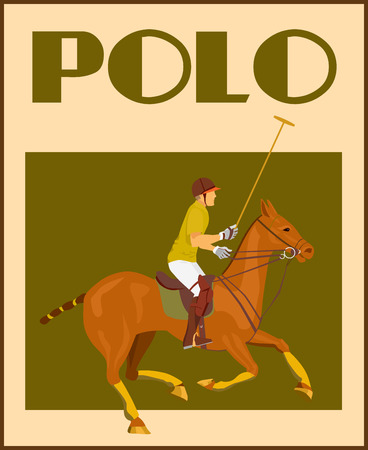 equestrian sport: Sport polo club player in helmet with mallet on horseback poster vector illustration