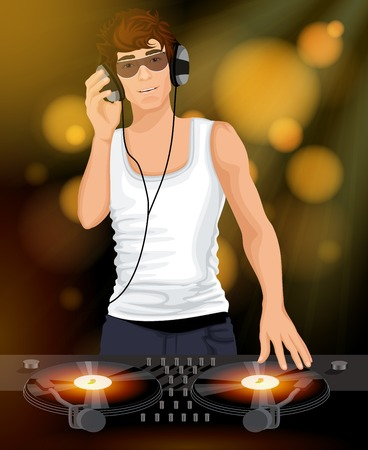 Night club disco sexy DJ young male in white singlet with headphones and sunglasses  poster vector illustration Vector