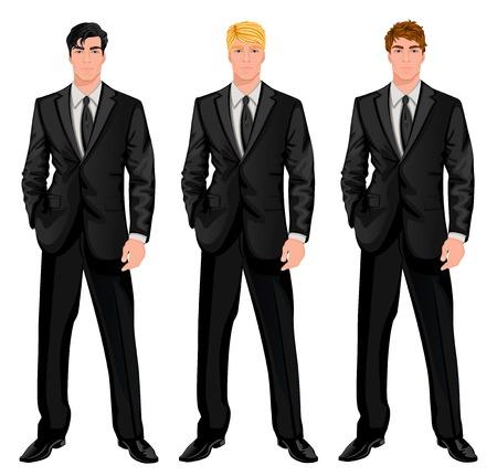 очаровательный: Трое молодых красивых бизнесменов в официальных костюмах с различными цветовыми волосы оттенков и стрижки стилей векторные иллюстрации Иллюстрация