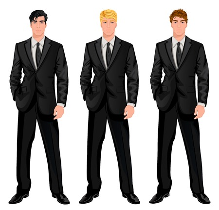 Three young handsome businessmen in formal suits with various hair color tints and haircut styles vector illustration Vectores