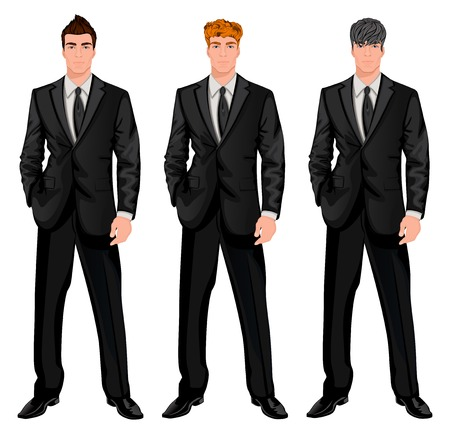 dark haired: Three young handsome businessmen with trendy hairstyles for red, dark brown and chestnut haired man vector illustration
