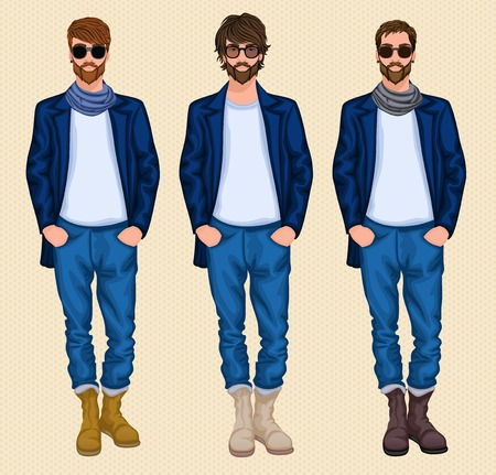 Hipster character pack guys male men set isolated vector illustration Vector