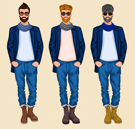 grey hair: Hipster character male avatar persons set of grey ginger brown hair men isolated vector illustration