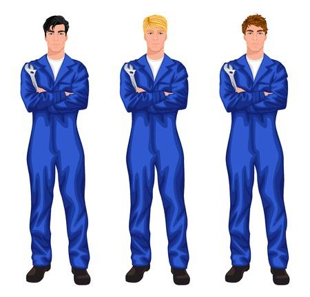 overol: Tres trabajadores mecánicos guapos jóvenes de pie con una llave con el vario color de cabello y estilos de corte de pelo ilustración vectorial