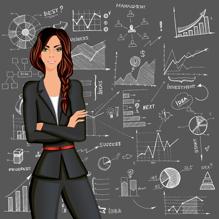 woman business suit: Young beautiful business woman against the doodle style charts diagram background in formal suit vector illustration